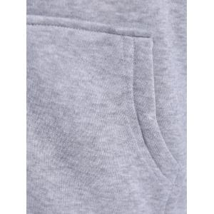 Autumn Wide Drawstring Zipper Up Hoodie - GRAY 2XL