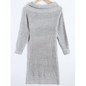 Sheath Turtleneck Chunky Sweater Dress - LIGHT GRAY ONE SIZE