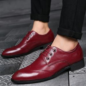 Pointed Toe Tie Up Engraving Formal Shoes - RED 43