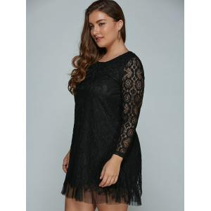 Plus Size Long Sleeve Lace Shift Dress - BLACK 4XL