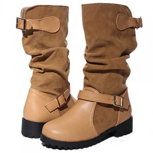 PU Leather Spliced Flock Buckle Slouch Boots - BROWN 40