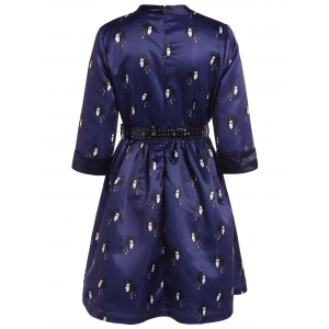 Buttoned Face Print Belted Dress -