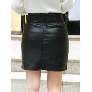 High Waist Lace-Up Faux Leather Skirt - BLACK L