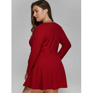 Long Sleeve Plus Size Short Skater Tunic Dress - DARK RED 4XL