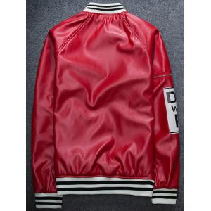 Zippered Varsity Striped Raglan Sleeve Faux Leather Jacket -