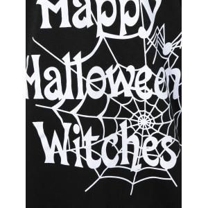 Skew Collar Happy Halloween Witches T-Shirt - BLACK S