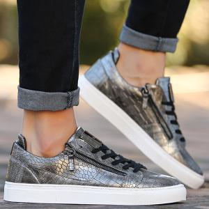 Round Toe Zip Embellished Crocodile Embossed Casual Shoes - DEEP GRAY 43