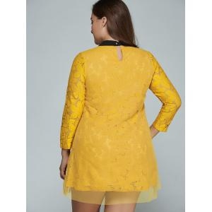 Plus Size Mini Lace Long Sleeve Dress - YELLOW 4XL