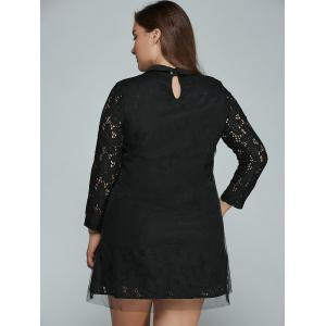 Plus Size Mini Lace Long Sleeve Dress -