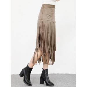 High Waist Fringed Suede Skirt -