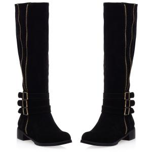 Suede Zip Buckles Knee-High Boots -