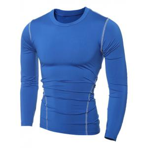 Slim-Fit Quick-Dry Round Neck Long Sleeve T-Shirt - BLUE 2XL