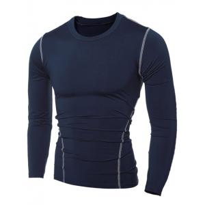 Slim-Fit Quick-Dry Round Neck Long Sleeve T-Shirt -