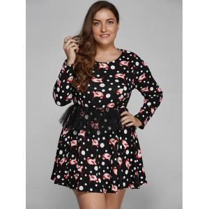 Polka Dot Floral Print Plus Size Mini Dress -