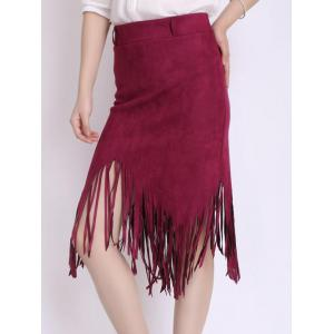 Asymmetrical Fringed Suede Skirt -