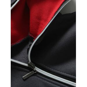 Slim-Fit Side Zipper Design Pullover Hoodie - GRAY/RED 3XL