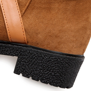 Buckle Cross-Strap Suede Boots -