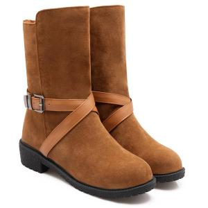 Buckle Cross-Strap Suede Boots - BROWN 39