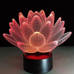 3D Christmas Lotus Flower Shape Touch Colorful Night Light -