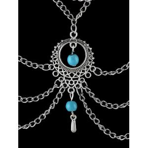 Faux Turquoise Tassel Chains Necklace - SILVER