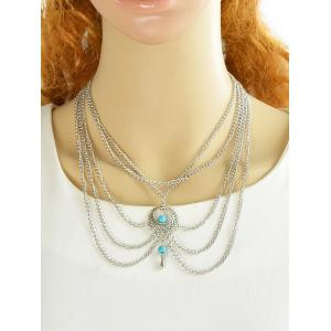 Faux Turquoise Tassel Chains Necklace -