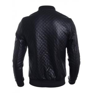 Stand Collar All Over Rhombus PU Jacket - BLACK 2XL