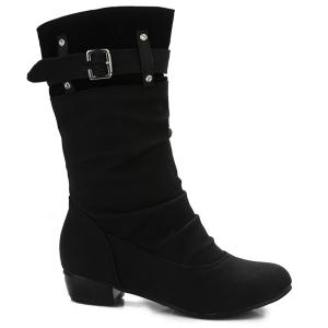 Buckle Rhinestone Ruched Mid-Calf Boots - BLACK 39