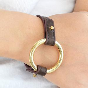 PU Leather Metal Ring Bracelet -
