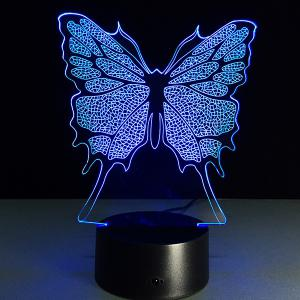 3D Festival Butterfly Shape Touch Colorful Night Light - TRANSPARENT