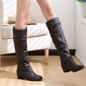 Ruched Low Heel Fold Over Knee High Boots -