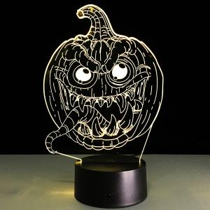 3D Halloween Funny Pumpkin Shape Touch Colorful Night Light - TRANSPARENT