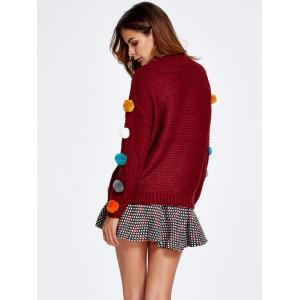 Pompon Spliced Sweater and Dot Skirt Set -