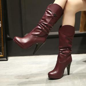 High Heel Ruched Mid Calf Boots -