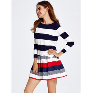 Stripe Knitted Sweater and Skirt Set -