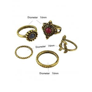 Natural Stone Circle Jewelry Ring Set -