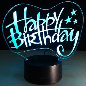 Happy Birthday Board Shape Touch Colorful Night Light - TRANSPARENT
