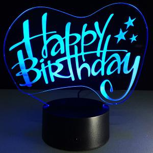 Happy Birthday Board Shape Touch Colorful Night Light -