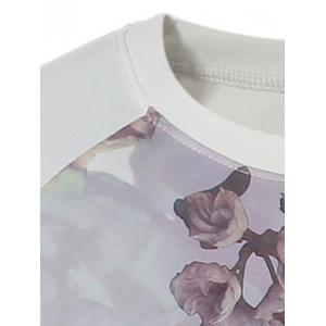 Crew Neck Raglan Sleeve Floral Print T-Shirt - COLORMIX 2XL