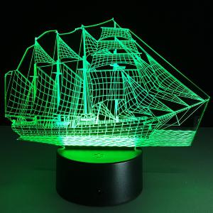 Sailing Ship Shape Touch Colorful Night Light -