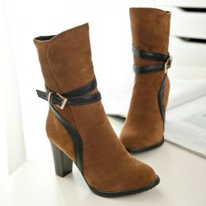 Suede Chunky Heel Ankle Boots -