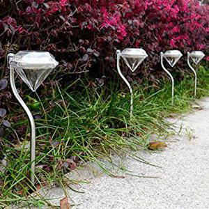 LED Solar Garden Lights Outdoor Decorative Waterproof Diamond Lawn Lamp - TRANSPARENT