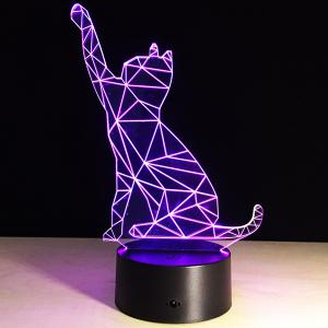 Beckon Cat Shape Touch Colorful Night Light -