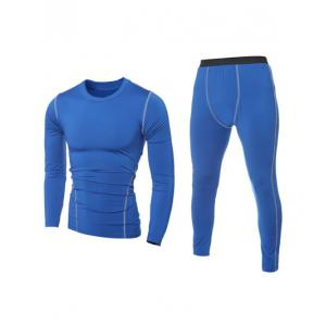 Quick-Dry Long Sleeve T-Shirt + Skinny Gym Pants Twinset - BLUE 2XL