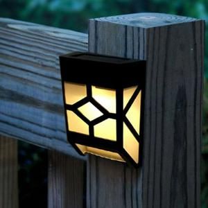 LED Solar Garden Lights Outdoor Decorative Waterproof Courtyard Panel Lamp - BLACK