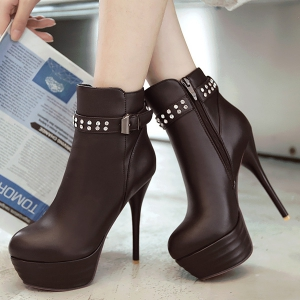 Buckle Rhinestone High Heel Ankle Boots -