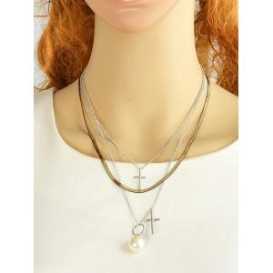 Faux Pearl Cross Layered Pendant Necklace - SILVER