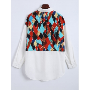 Argyle Print Long Sleeve Shirt -