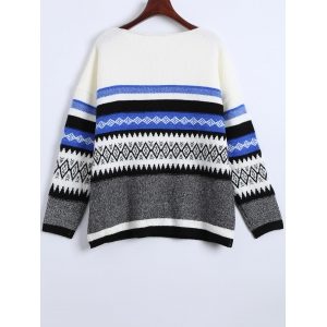 Cute Round Neck Color Block Geometric Pattern Sweater -