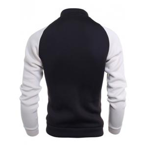 Stand Collar Raglan Sleeve Color Block Jacket -