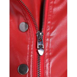 Warm Buttons Zippers PU Biker Jacket -